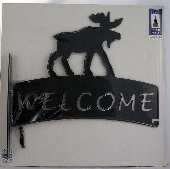 Black Metal Moose Welcome Sign