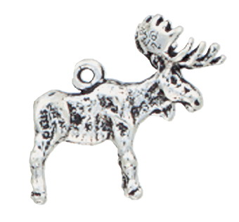 Sterling Silver Moose Charm - Ring on Back