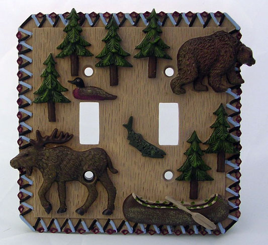 Ceramic Double Switch Plate with a Moose and a Bear