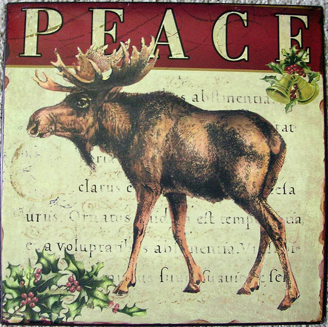 Holiday Peace Moose Tin Sign