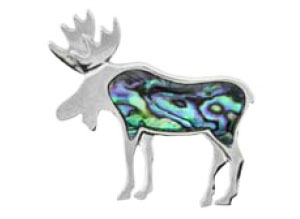 Sterling Silver Inlaid Moose Pin